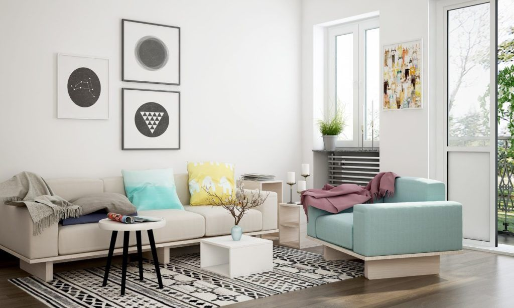 airy living room layout with two center tables