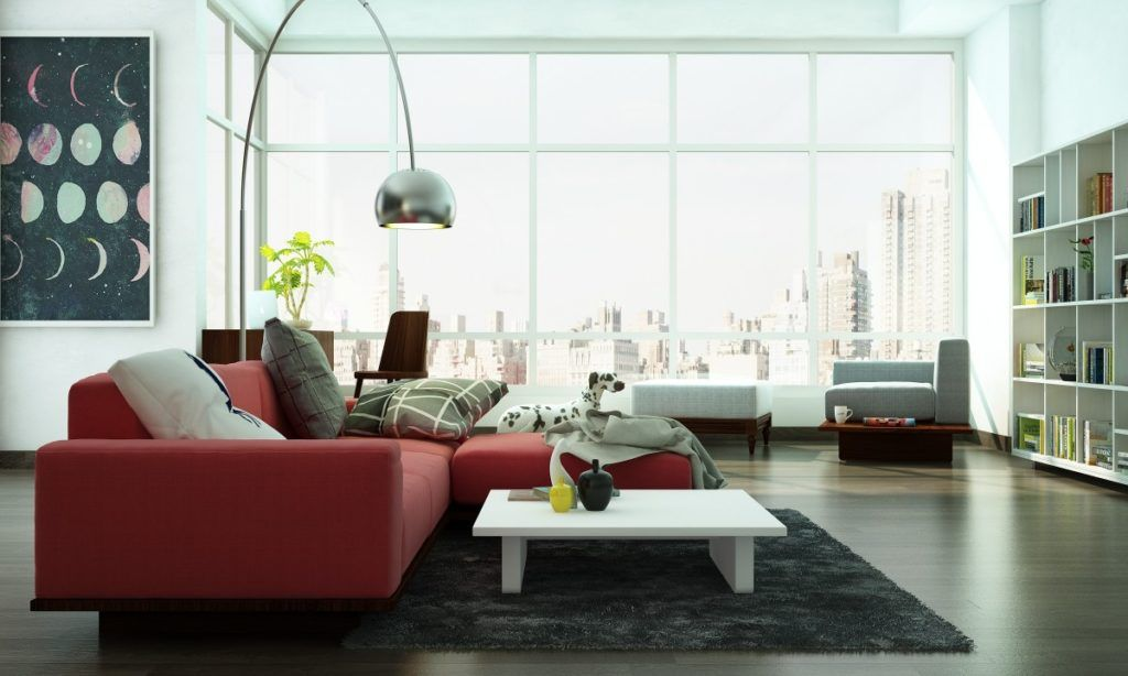 living room layout with segmented seating areas