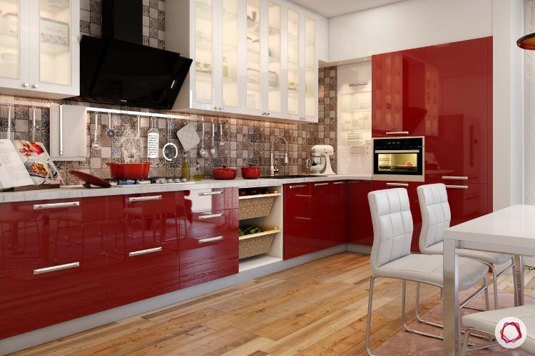 finish for kitchen cabinets-acrylic-red-cabinets-wooden-flooring