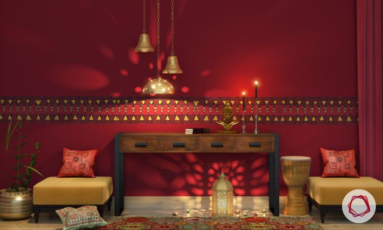 indian style interiors-red wall paint ideas