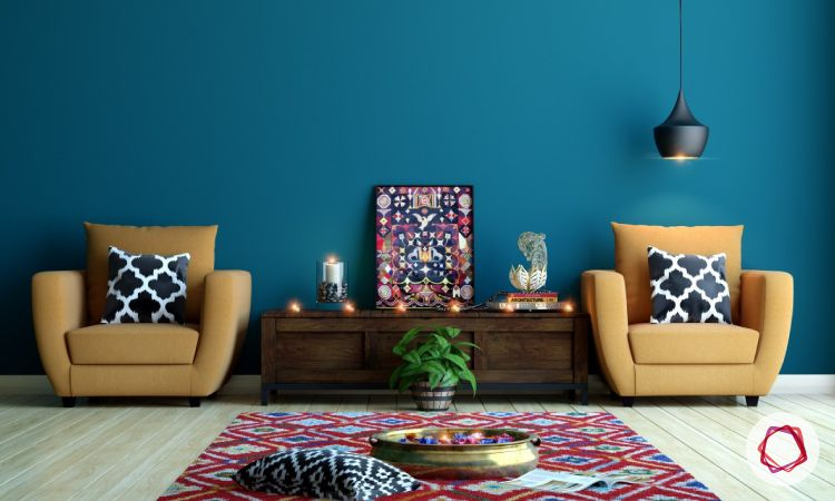 indian style interiors-blue wall paint ideas