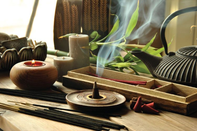 incense and aromatic candles
