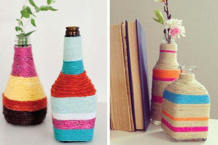Rustic yarn wrapped bottles