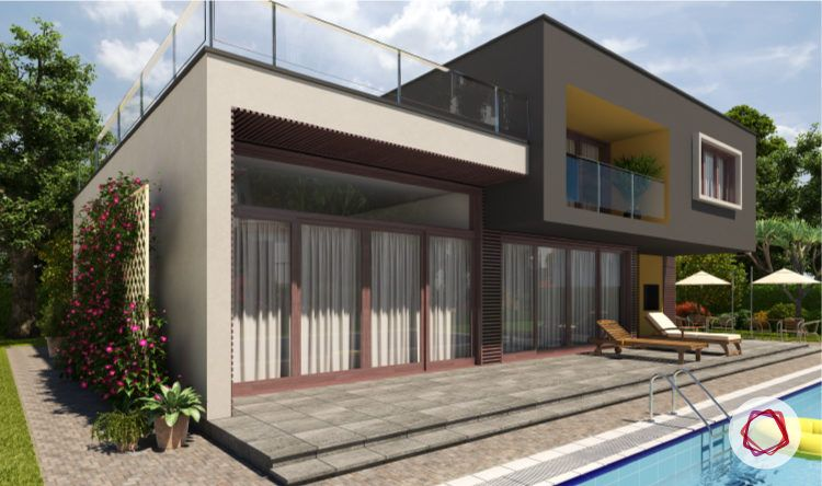 Exterior paint colors for Indian homes_grey paint