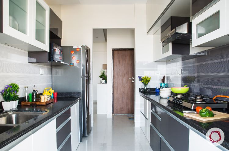 Mumbai interior design-ivory and grey modular kitchen