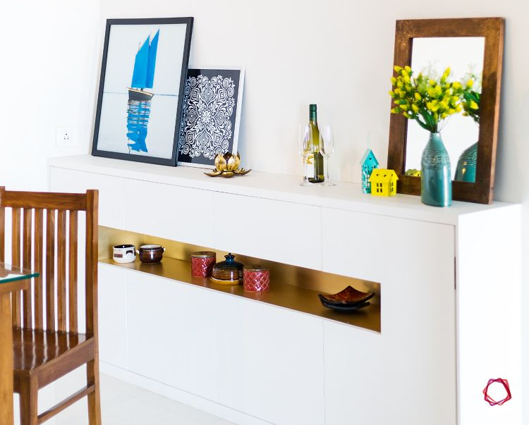 Mumbai interior design-white sideboard