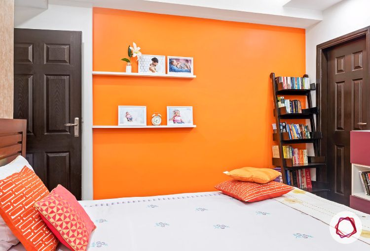 Noida interior design_vibrant orange wall