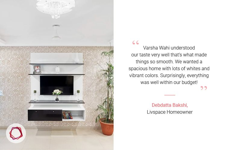 Noida interior design_grey and white TV unit