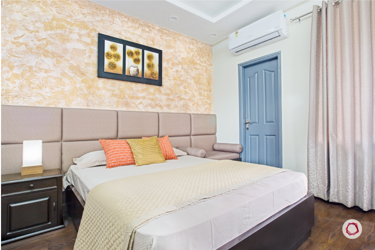 Noida interior design_fawn and champagne bedroom