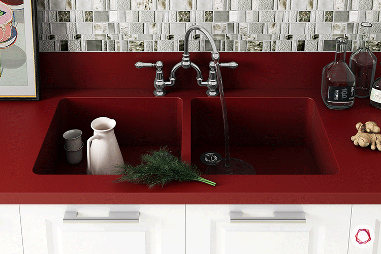 One piece sink_red
