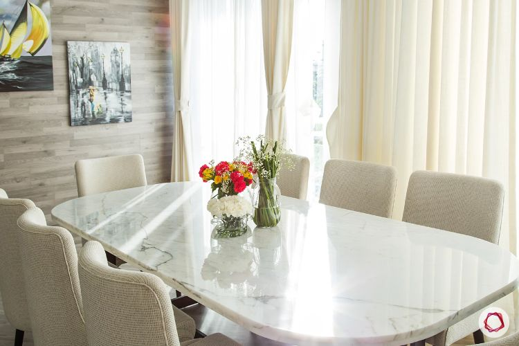 minimalist dining table in marble