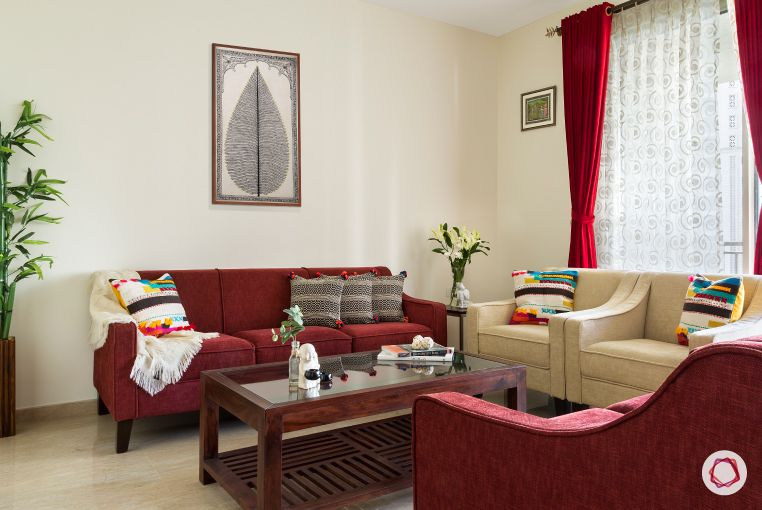 Home Decor Ideas in Red - Red Couch in the living room