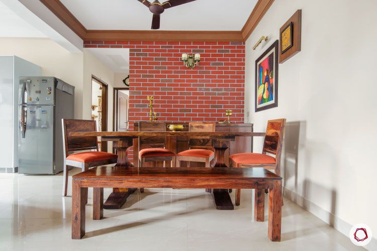 Home Decor Ideas in Red - Red Brick Wall Dining
