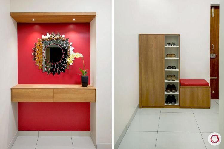Home Decor Ideas in Red - Foyer Design Red Wall, Red Seating