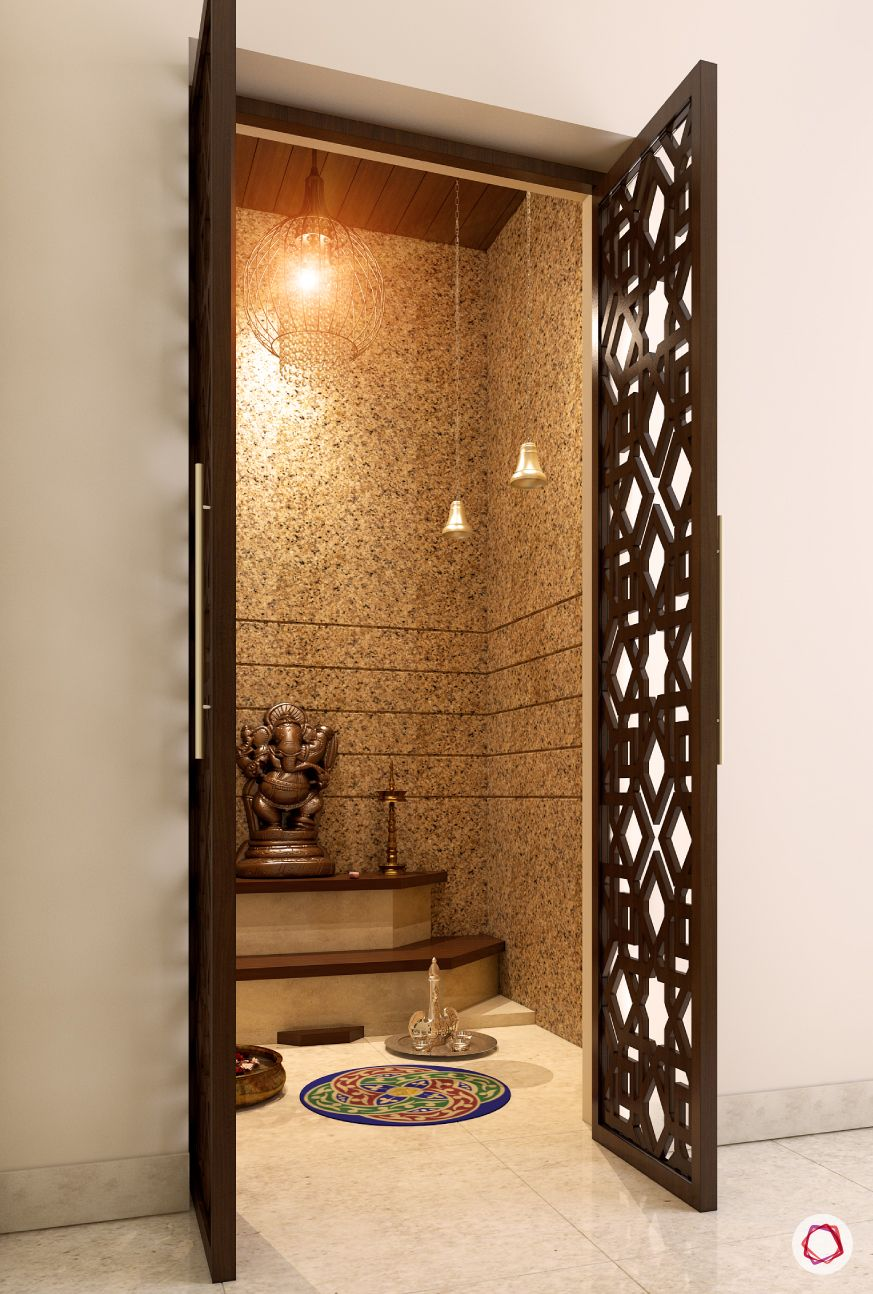 Pooja Room Design For Home: Luxurious & Intricate Latticework For Pooja Rooms