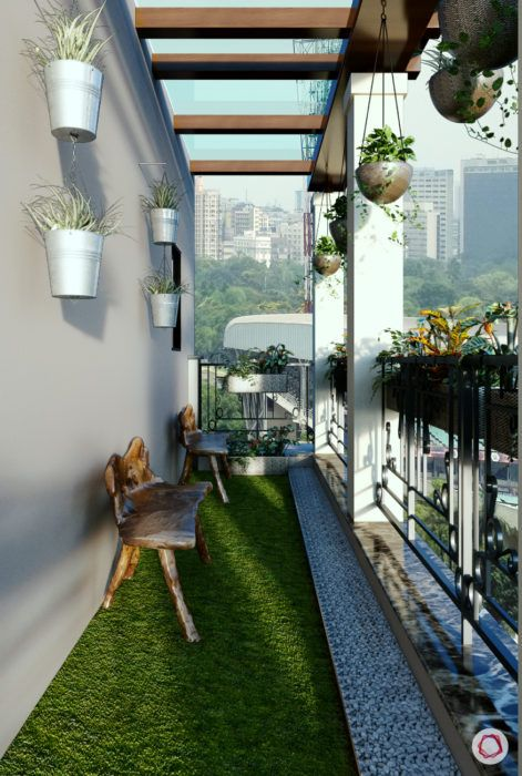 balcony-artificial-grass-bench-mounted-planters