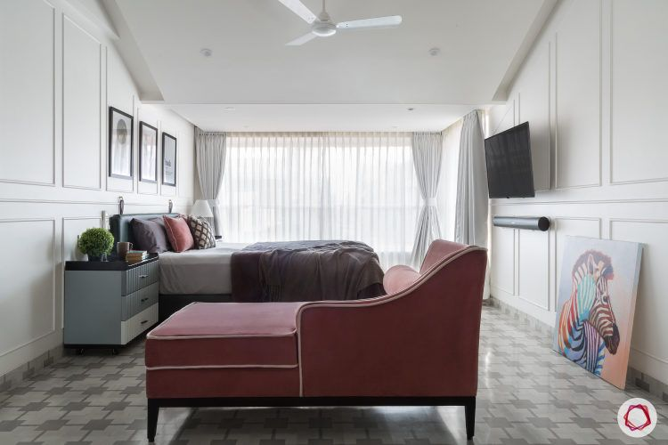 bedroom design-day-bed-wall-mouldings-TV-unit
