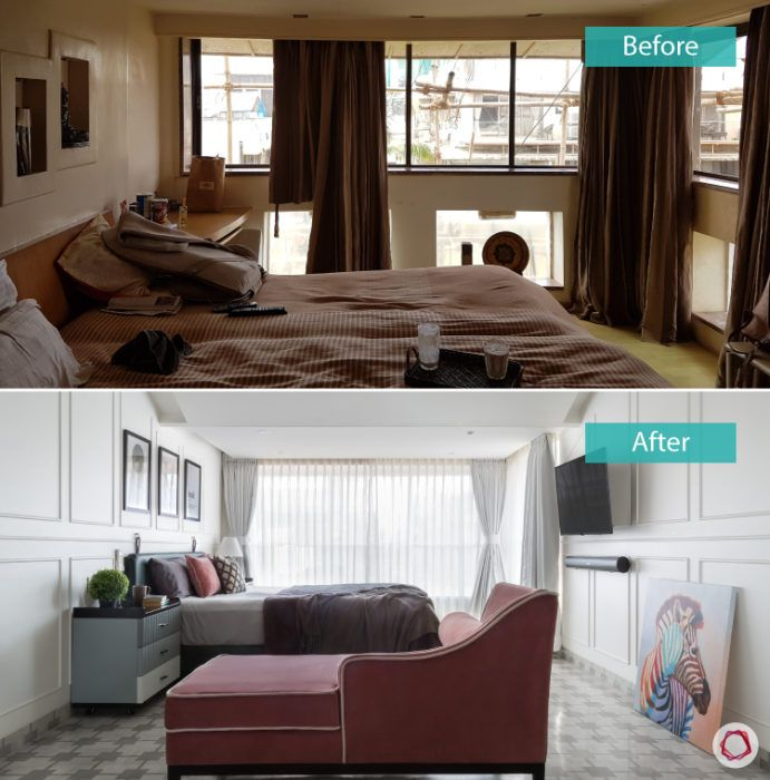bedroom design-before-after-wall-windows-TV-unit