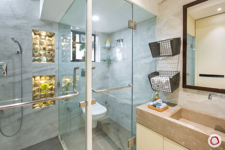 House design-glass doors-shower unit-marble countertop