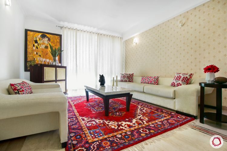 Carpet designs for drawing room-red carpet-cream furniture