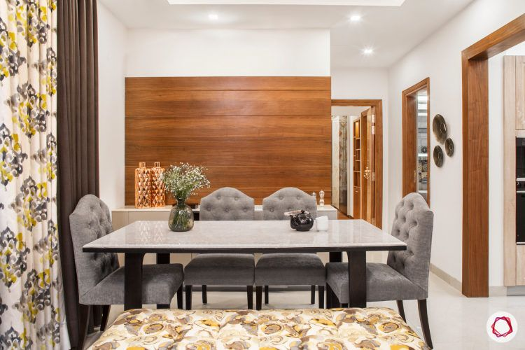 dining room-grey button tufted chairs-marble table top