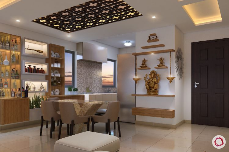 Mandir design_wall design_home temple_bells_pooja in dining room