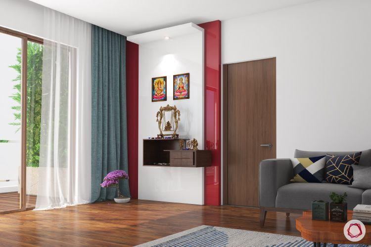 Mandir design_accent wall_red outline_wall panels