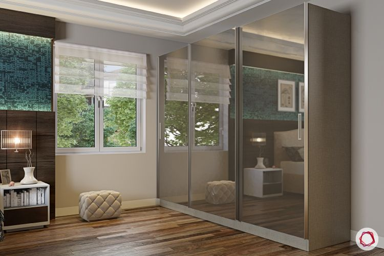 blinds-bedroom-sheer-white-pouf-wardrobe-wooden-flooring