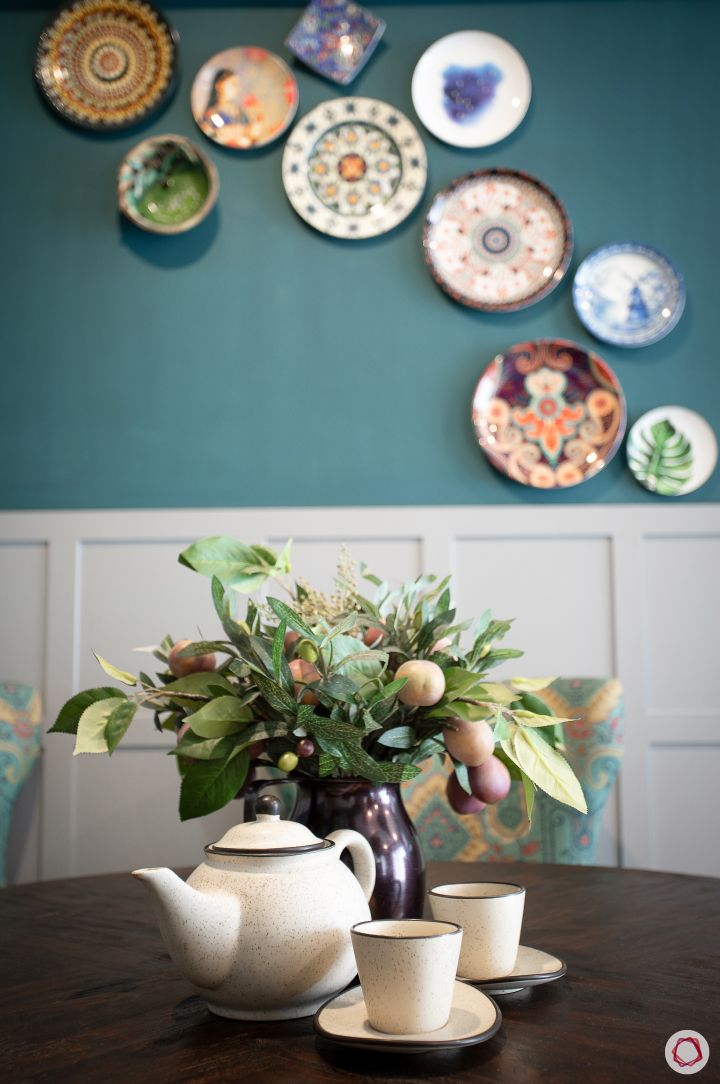 plates for wall decoration-blue wall ideas