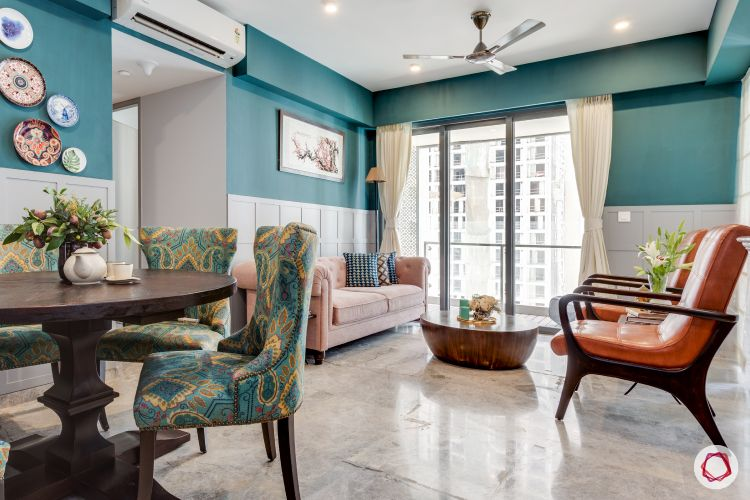 Interior-design-for-1BHK-flat-blue wall designs