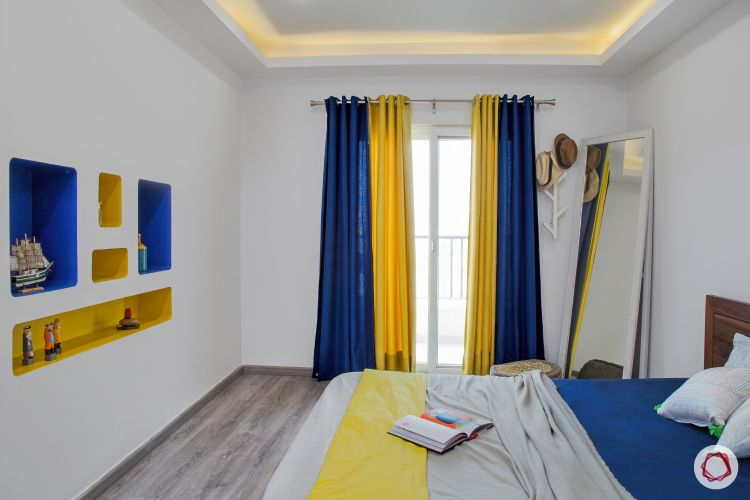 New house design-master bedroom-wall niches-blue and yellow