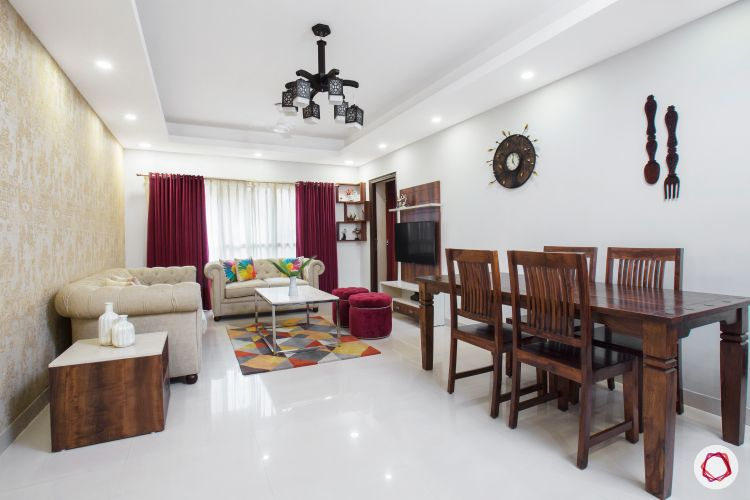 top interior designer open layout living and dining room