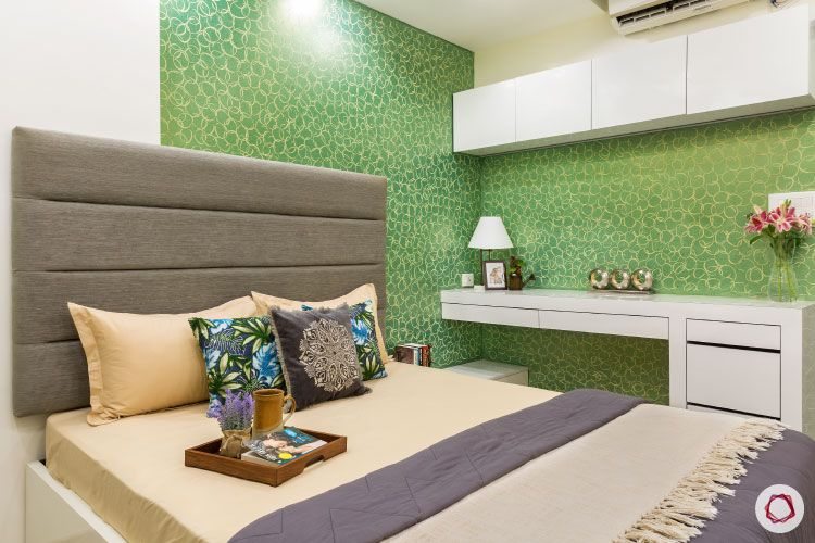 Design_green bedroom study and bed