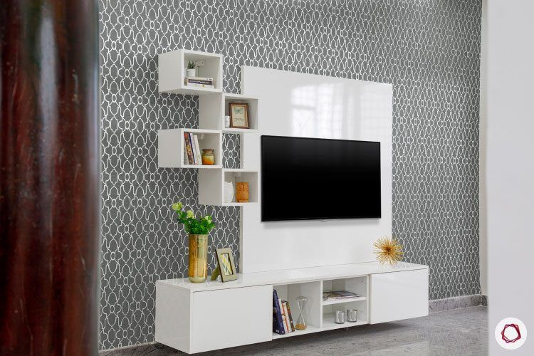 villas-in-bangalore-white-TV-unit-open-shelf