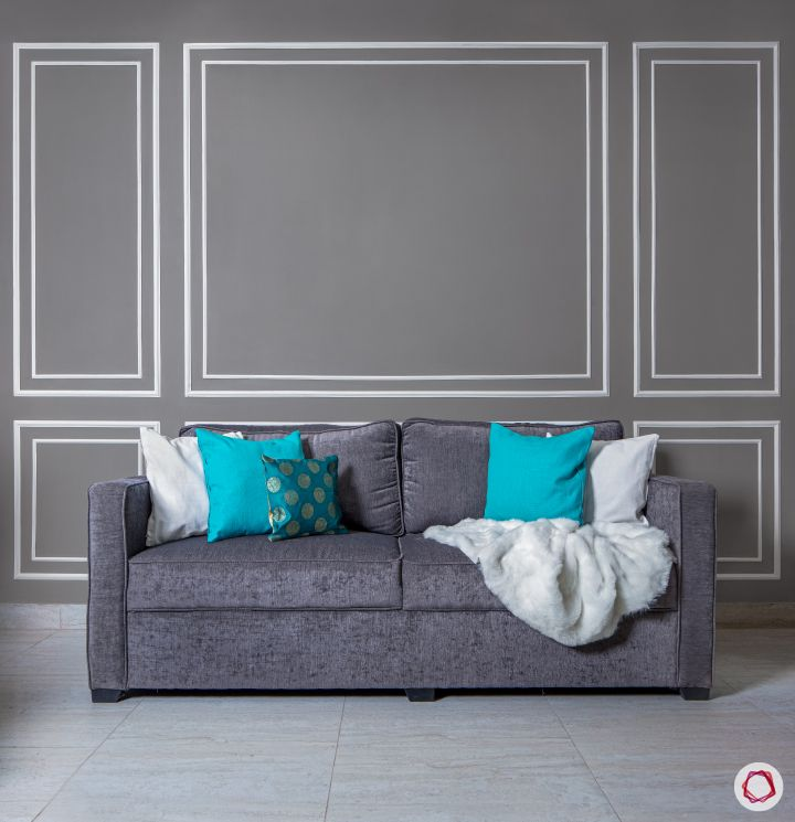 3bhk flat_living room sofa-grey-wall-white-trims