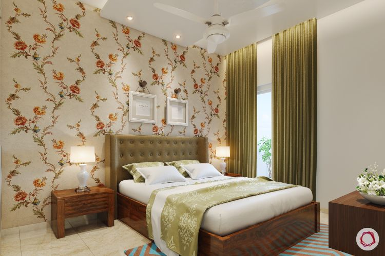 paint or wallpaper indian walls-green curtains-headboard designs-lamps