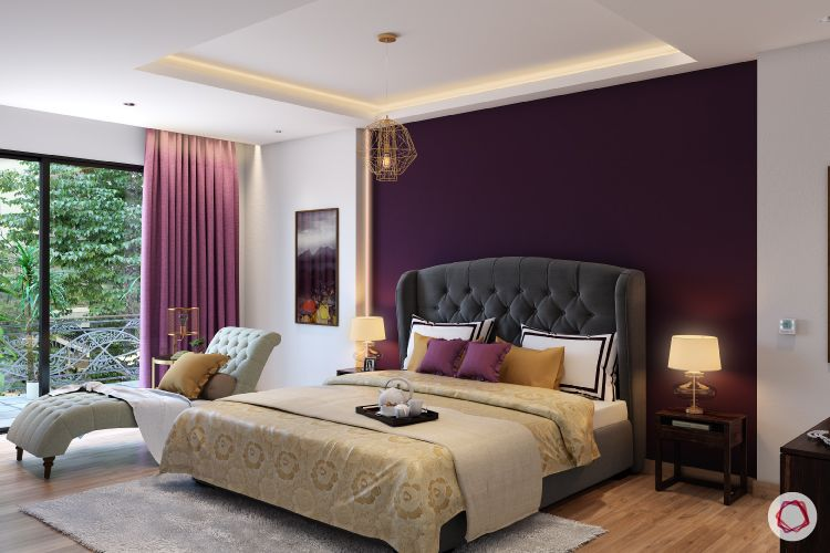paint or wallpaper indian walls-purple curtains-gold bedding-pendant light