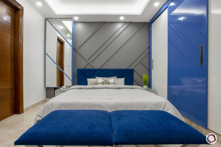 3BHK plan blue and grey bedroom