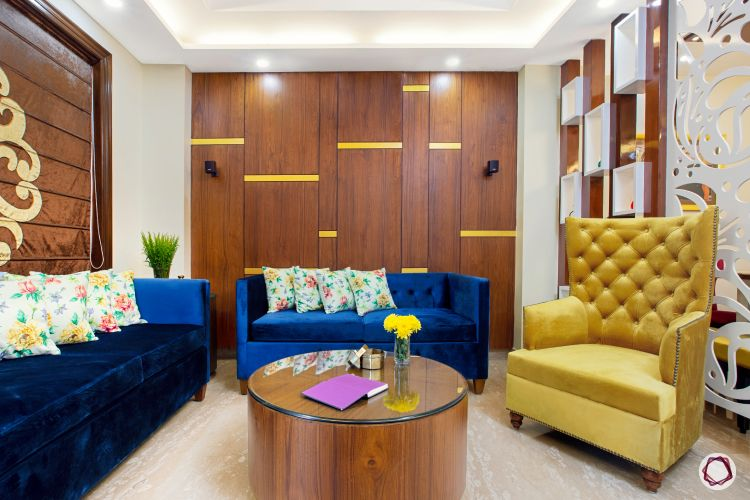3BHK plan living room wooden wall