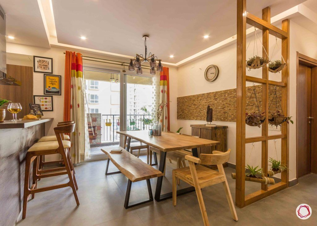 Best interior designers in bangalore_dining room-wooden-chairs-partition