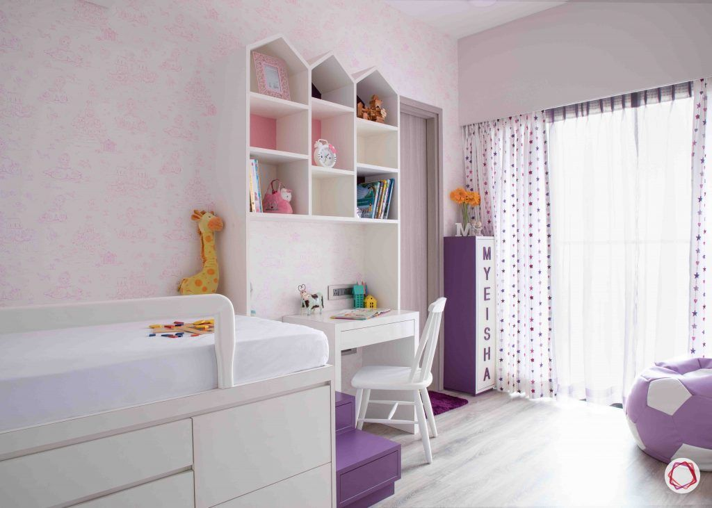 apartment design_pink wallpaper designs-castle book rack design
