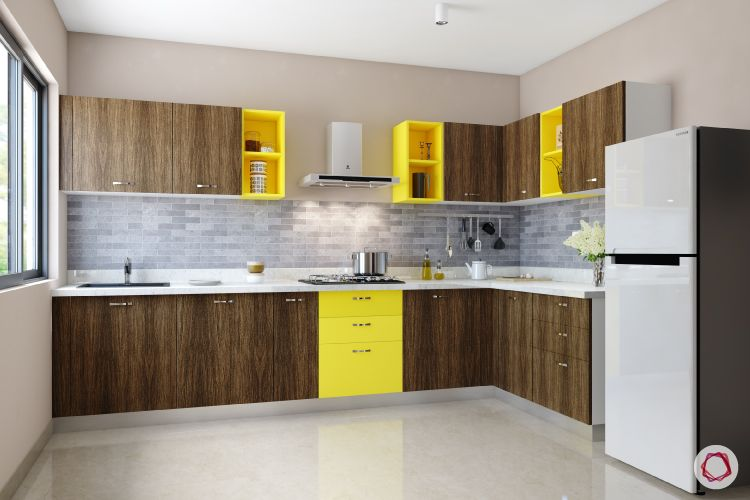modular kitchen cost-kitchen cabinets-splash of yellow-handles