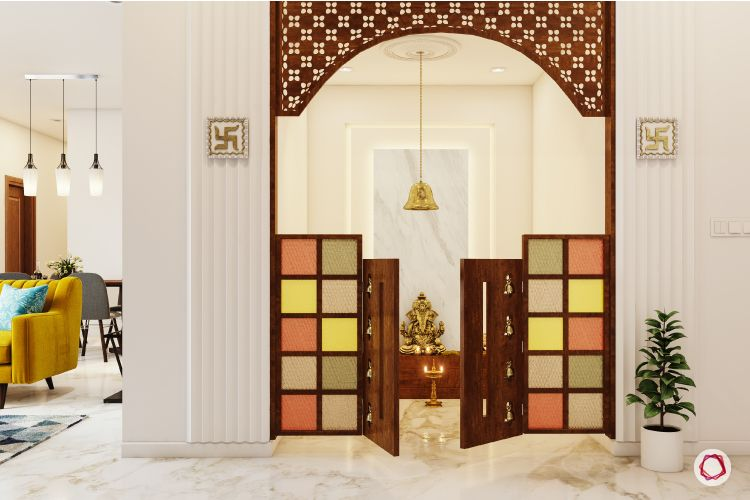 pooja room door designs half door