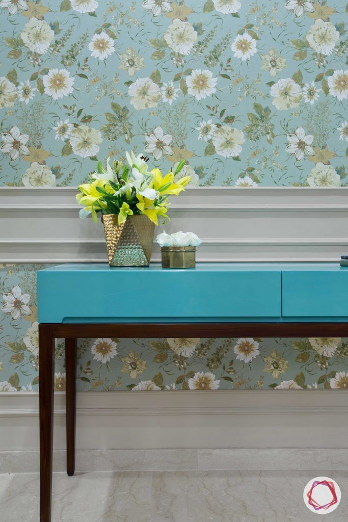 Prateek Stylome-blue console designs-blue floral wallpaper designs