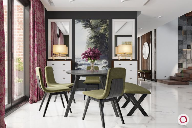 types of flooring in india-marble-white-black-dining-room