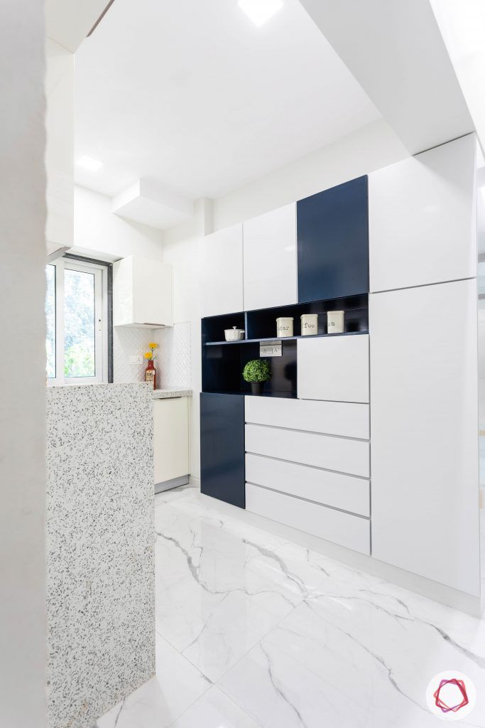 small house plans-white cabinets-blue display space-windoww