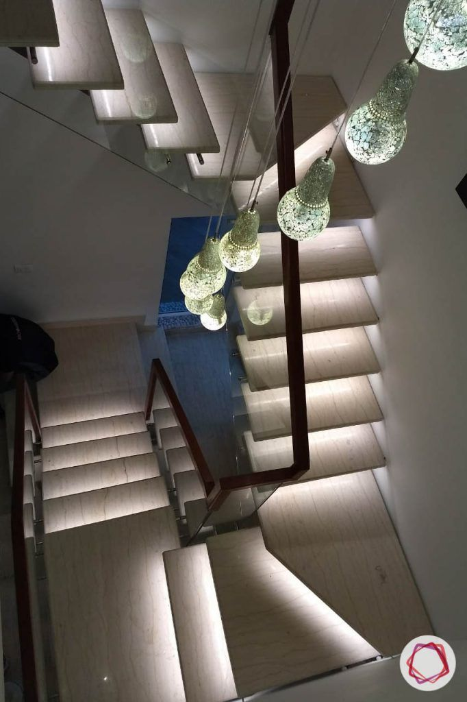 duplex house design stair lights