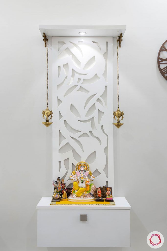 Pooja-Room-Design-Wall-mounted-white-Jaali-Pattern