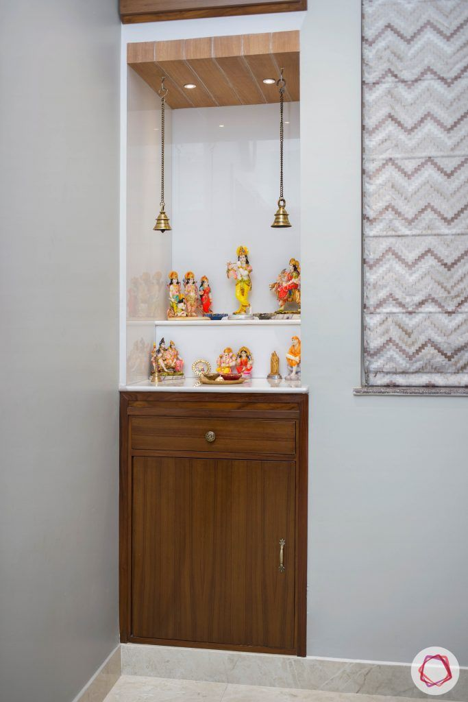 Pooja Room Design Wooden Niche with Cupboard 683x1024 - 16+ Pooja Room Design For Small House Images