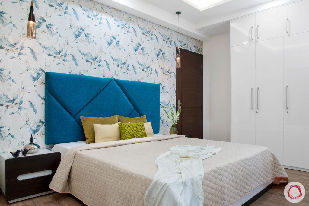 Cleo county noida_master bedroom white bed full view